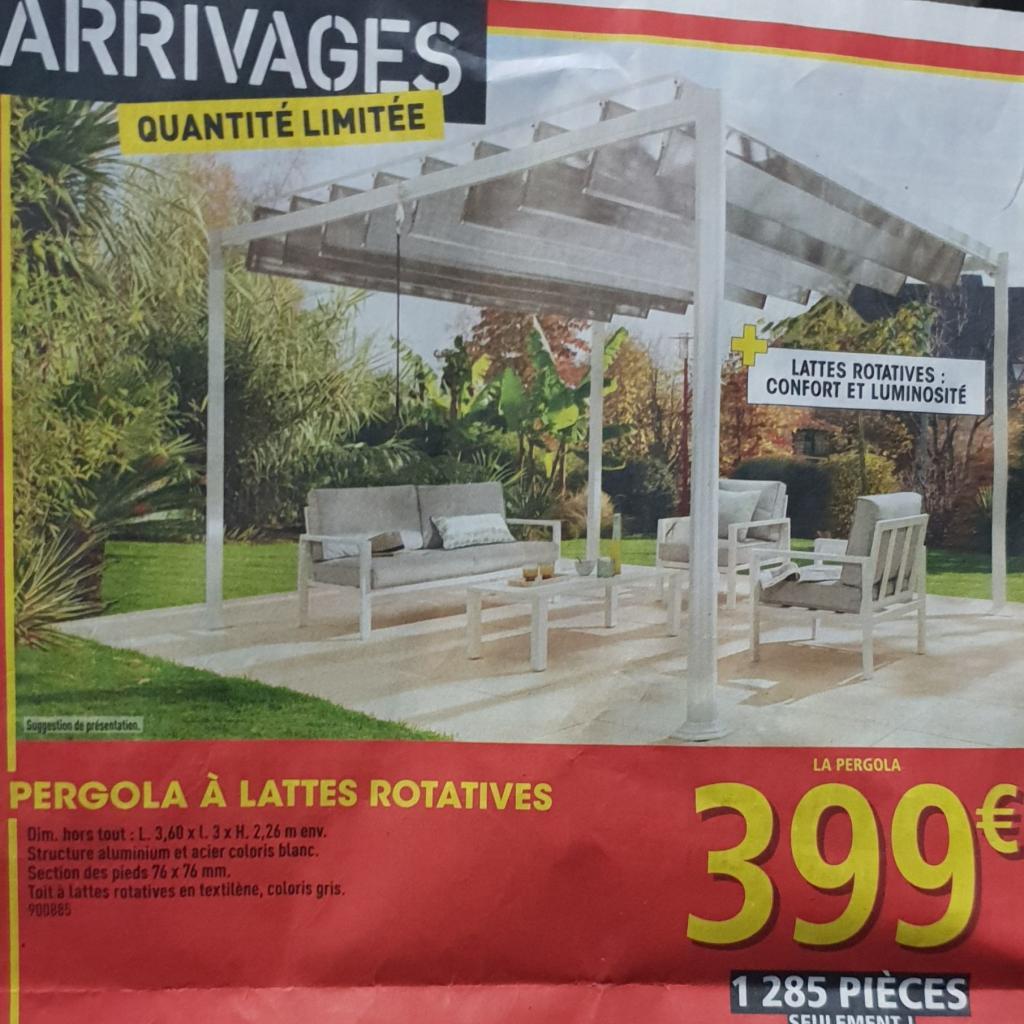 Pergola Bioclimatique En Aluminium Et Acier Avec Lattes ... pour Tonnelle De Jardin Carrefour
