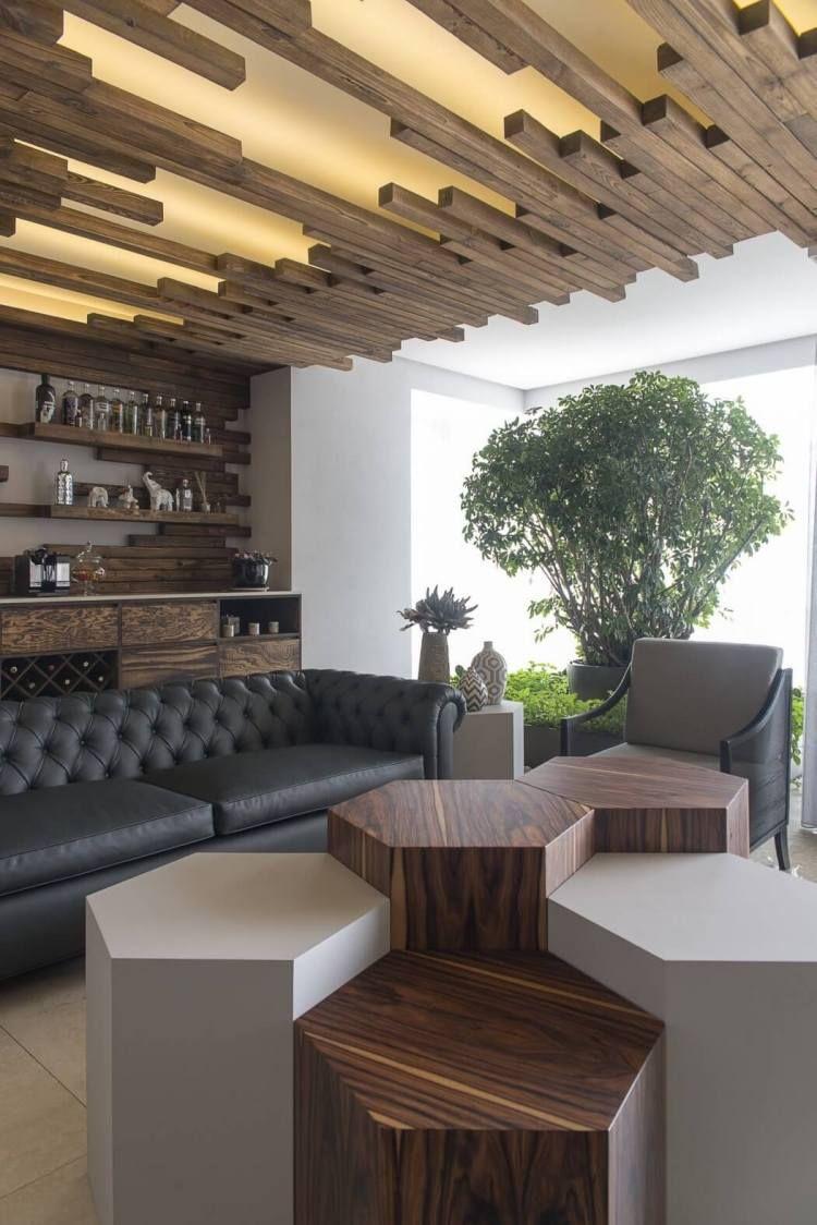 Plafond Bois Design Moderne À Panneaux Lumineux Led Et ... avec Salon De Jardin Lumineux