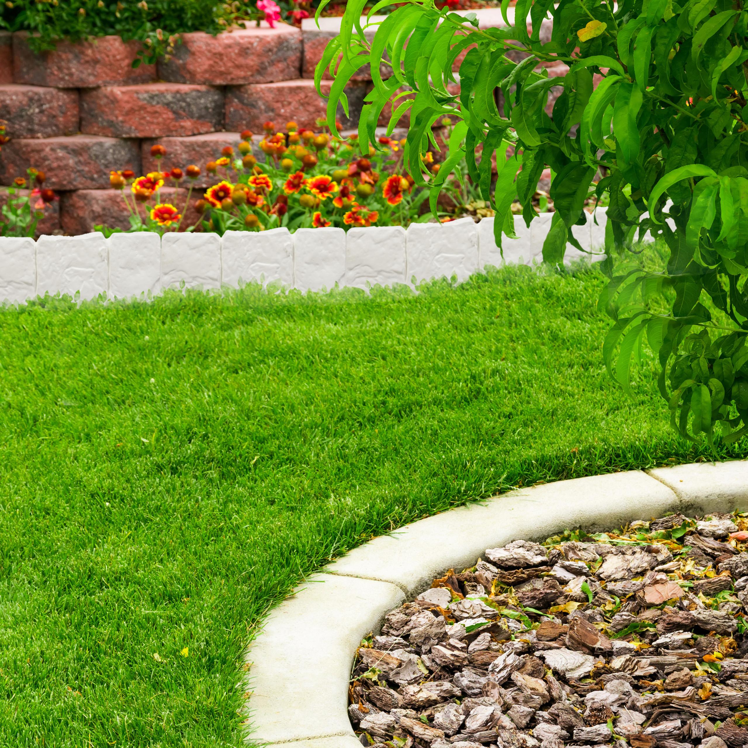 Relaxdays Bordure De Jardin Clôture Gazon 10 Éléments ... dedans Bordure De Jardin En Pierre