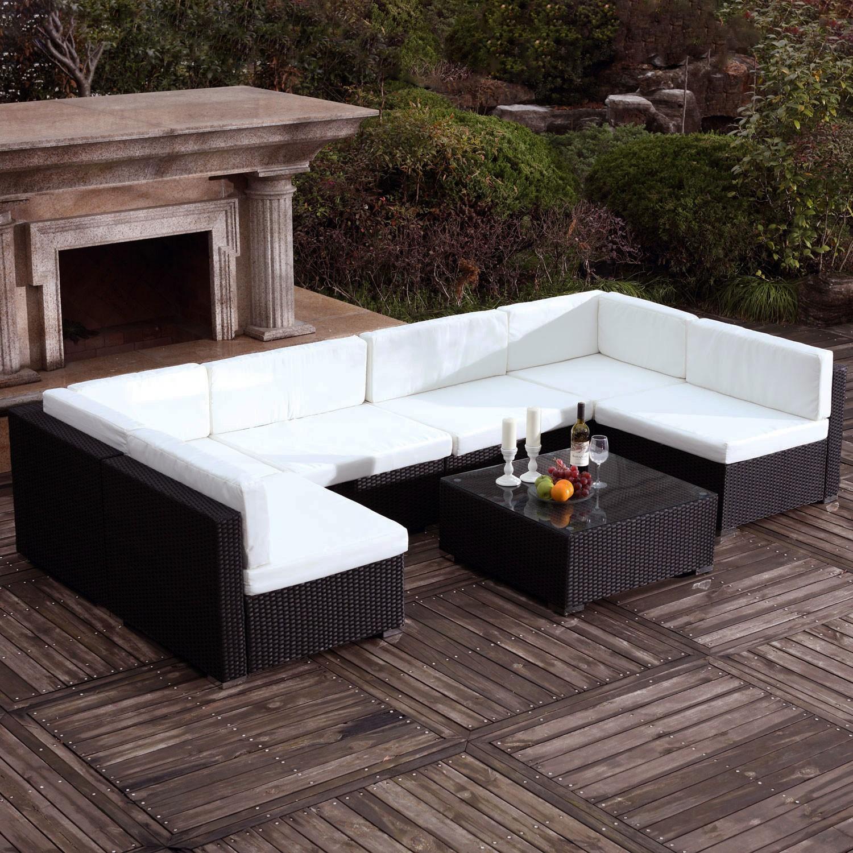 Saeï Noir/blanc : Grand Salon De Jardin En Résine Tressée 6 Personnes pour Table Jardin 6 Personnes