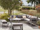 Salon Bas De Jardin Naxos Aluminium Gris, 9 Personnes dedans Canapé D Angle De Jardin