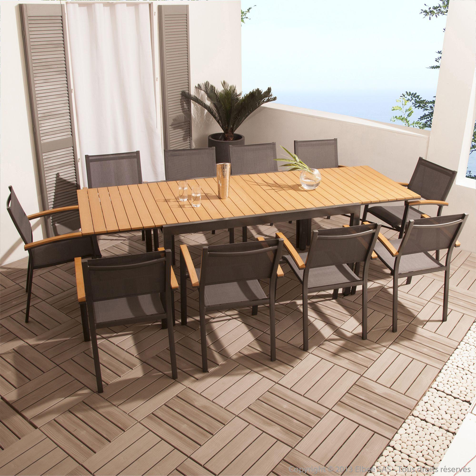 Salon De Jardin 10 Places Alu/composite Par Squareline ... concernant Table De Jardin Extensible Pas Cher