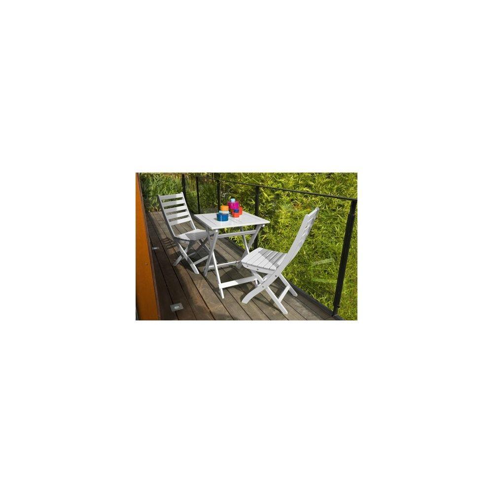 Salon De Jardin 2 Personnes Bois Blanc Table Balcon 60 X 60 Cm pour Salon De Jardin 2 Personnes