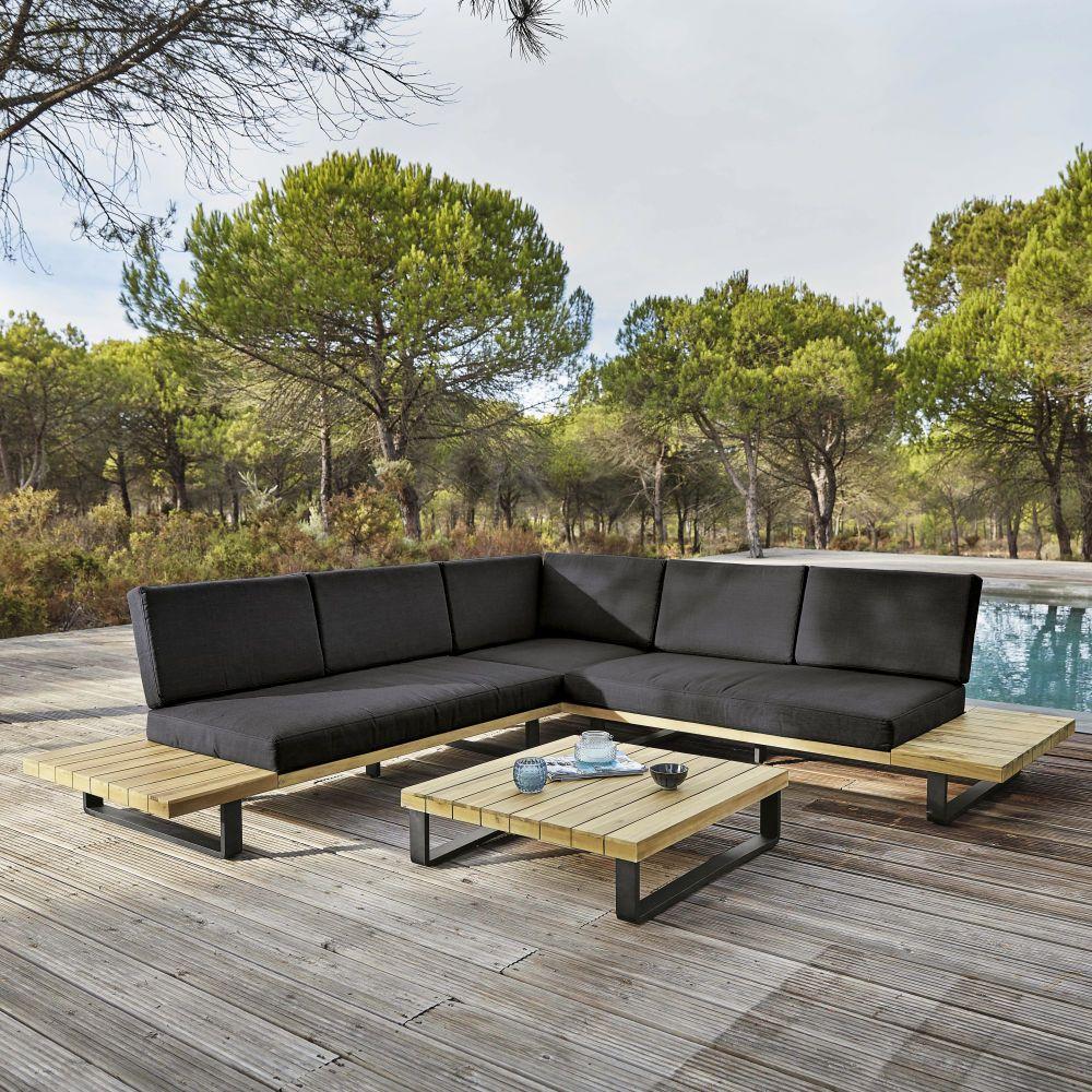 Salon De Jardin 4/5 Places En Aluminium Et Acacia Massif ... tout Salon De Jardin Maison Du Monde