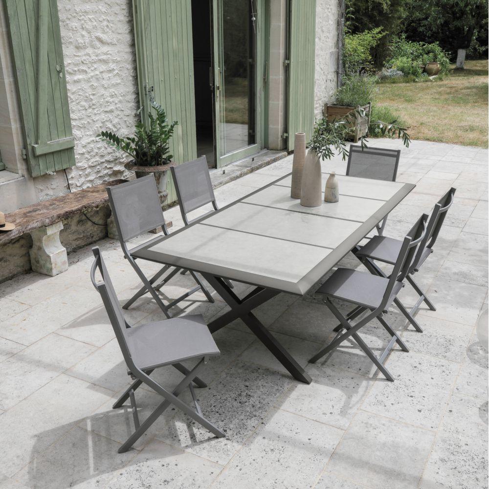 Salon De Jardin 6 Personnes En Aluminium Et Céramique intérieur Table Jardin 6 Personnes