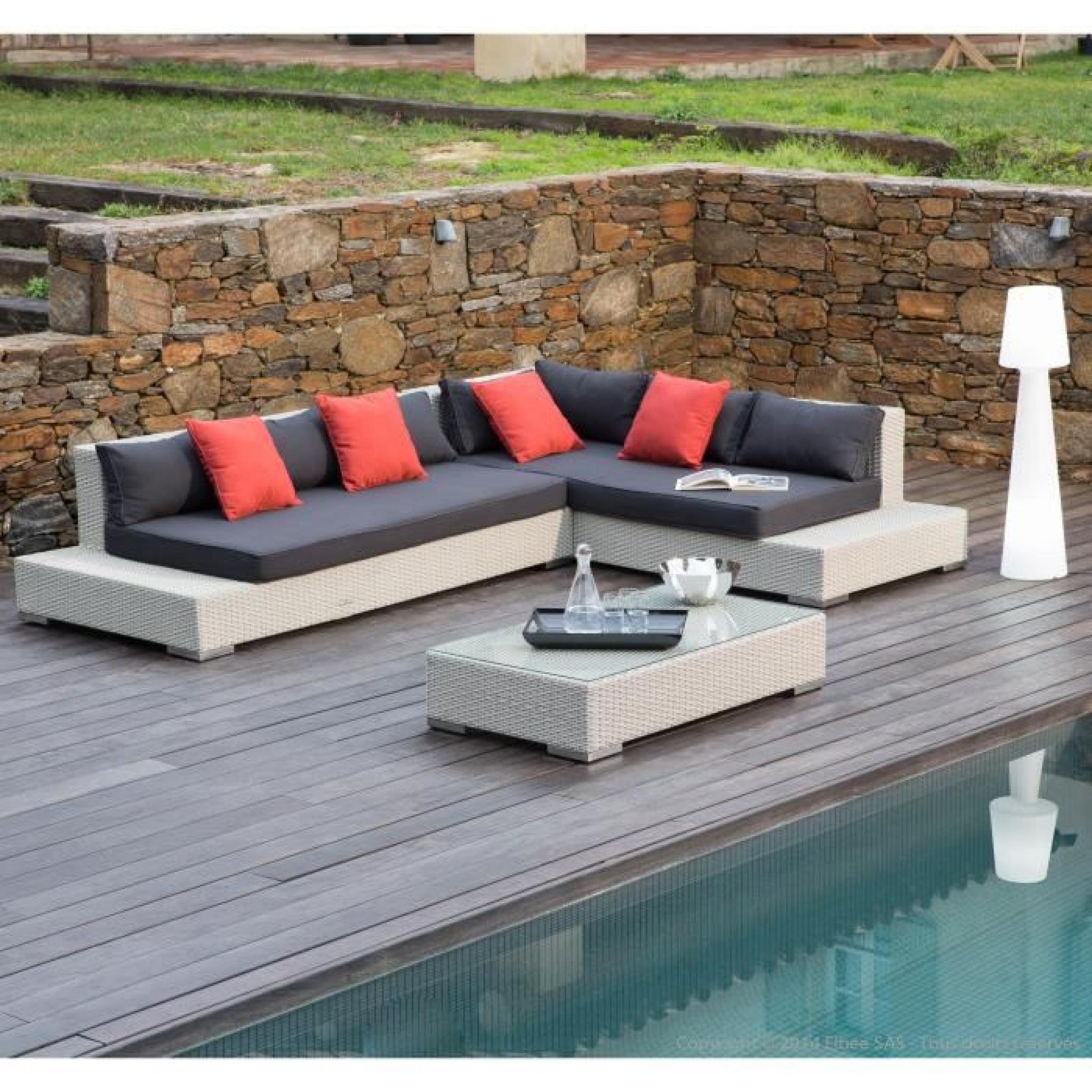 Salon De Jardin 6 Places : Canapé D'angle + Table Basse En Résine Tressée  Asella- concernant Canapé D Angle De Jardin