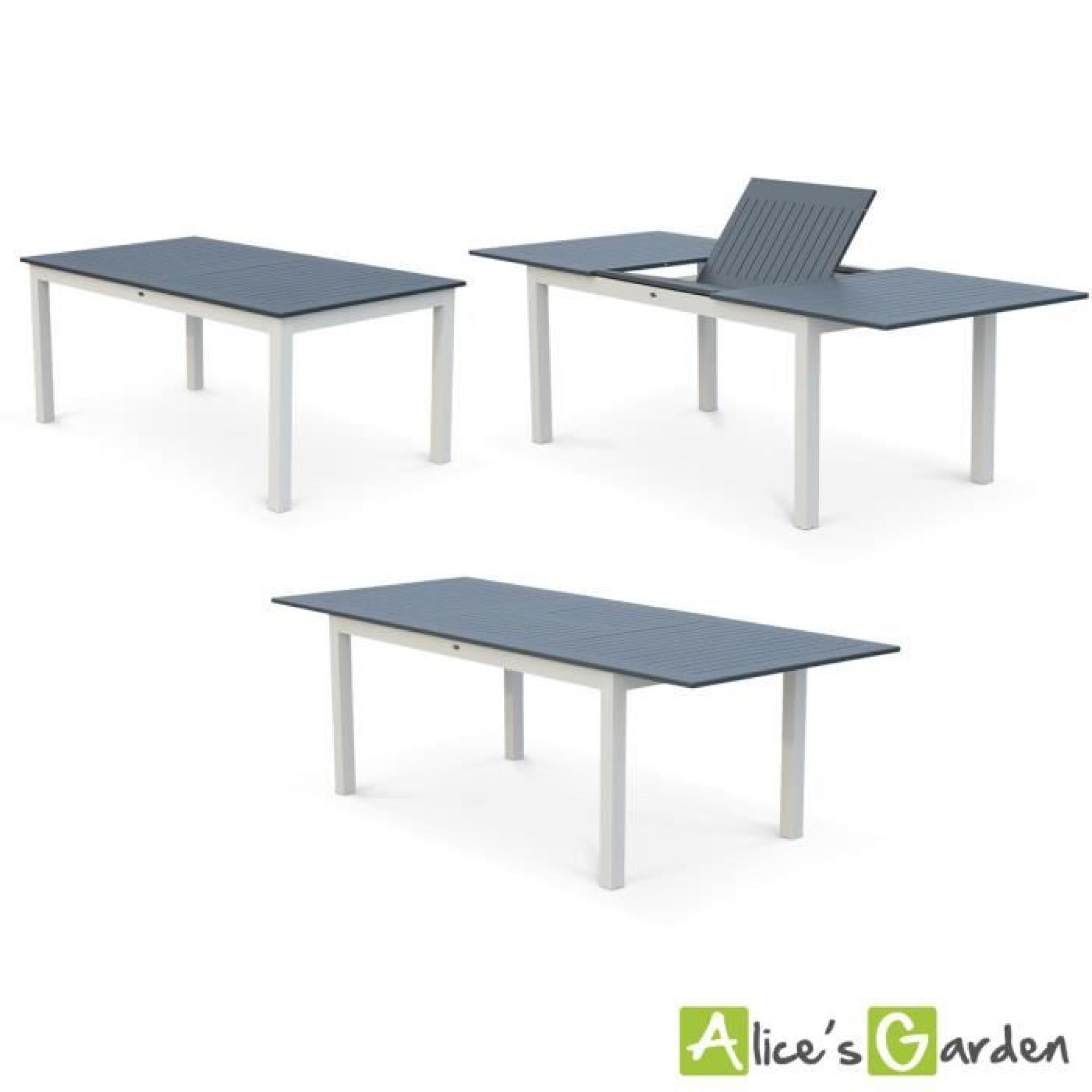Salon De Jardin 8 Places Table À Rallonge Extensible 175/245Cm Alu Blanc  Textilène Gris Foncé encequiconcerne Table De Jardin Extensible Pas Cher