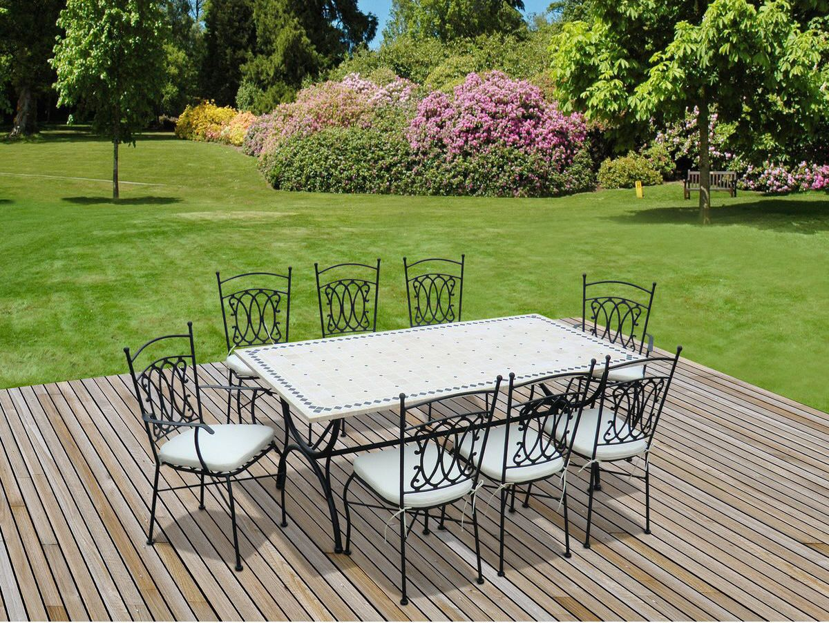 Salon De Jardin Alice S Garden Table 200Cm 8 Places - Salon ... tout Salon De Jardin En Fer Forgé