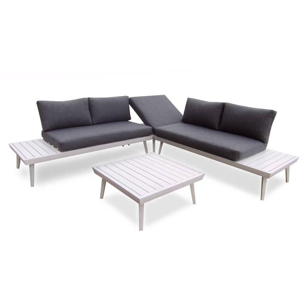 Salon De Jardin Bilbao Aluminium Blanc Et Gris 5 Personnes pour Salon De Jardin Gifi Catalogue