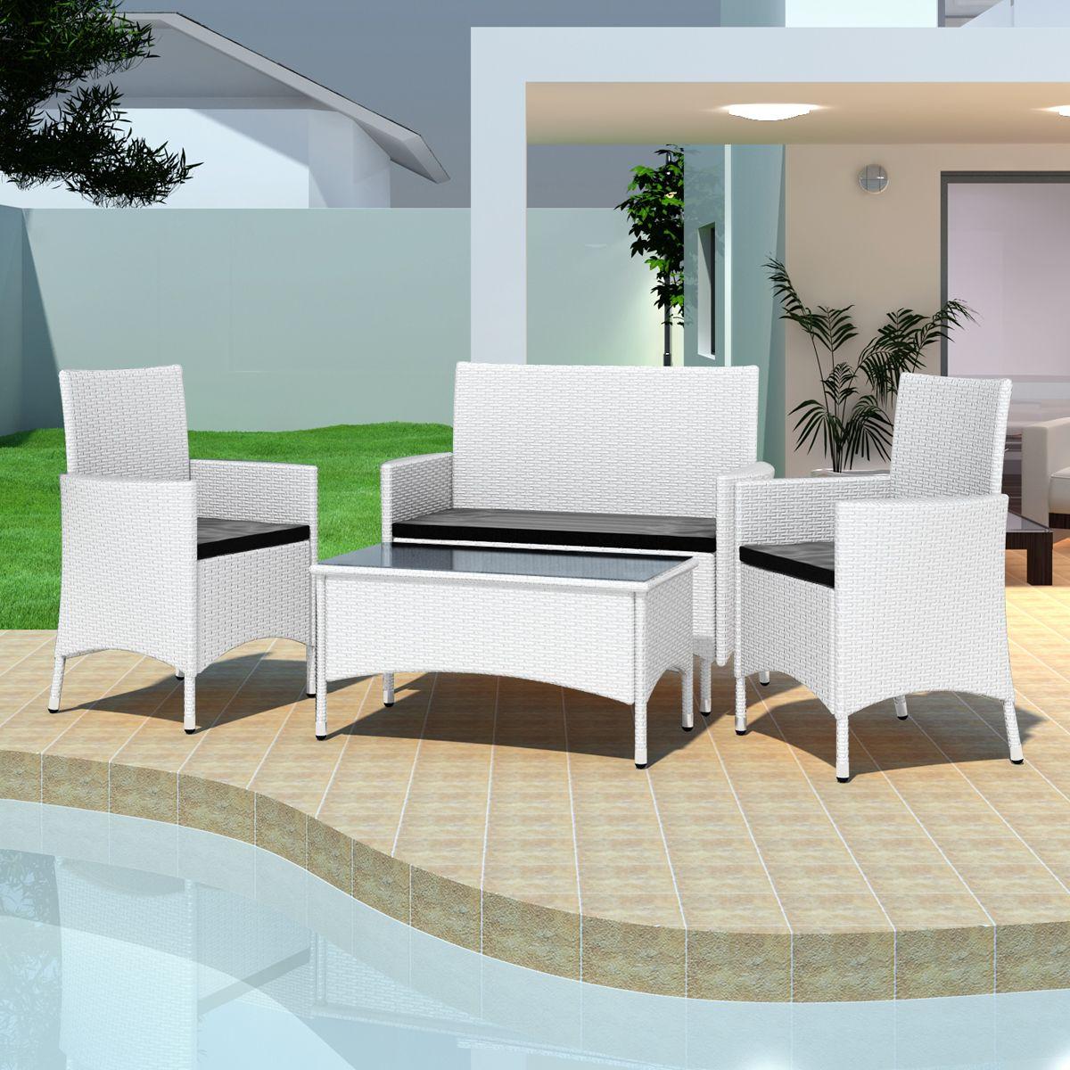 Salon De Jardin Blanc En Résine Tressée 2 Chaises Table ... dedans Amazon Salon De Jardin En Resine Tressee