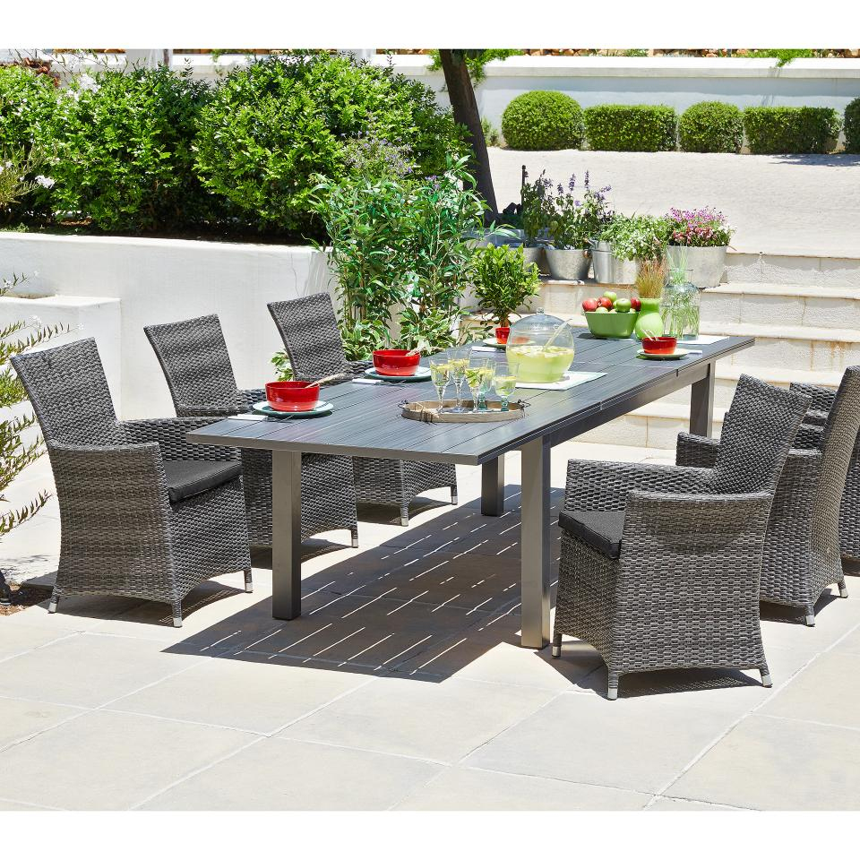 Salon De Jardin «California/kansas» (1 Table, 8 Chaises, Extensible) serapportantà Salon De Jardin California