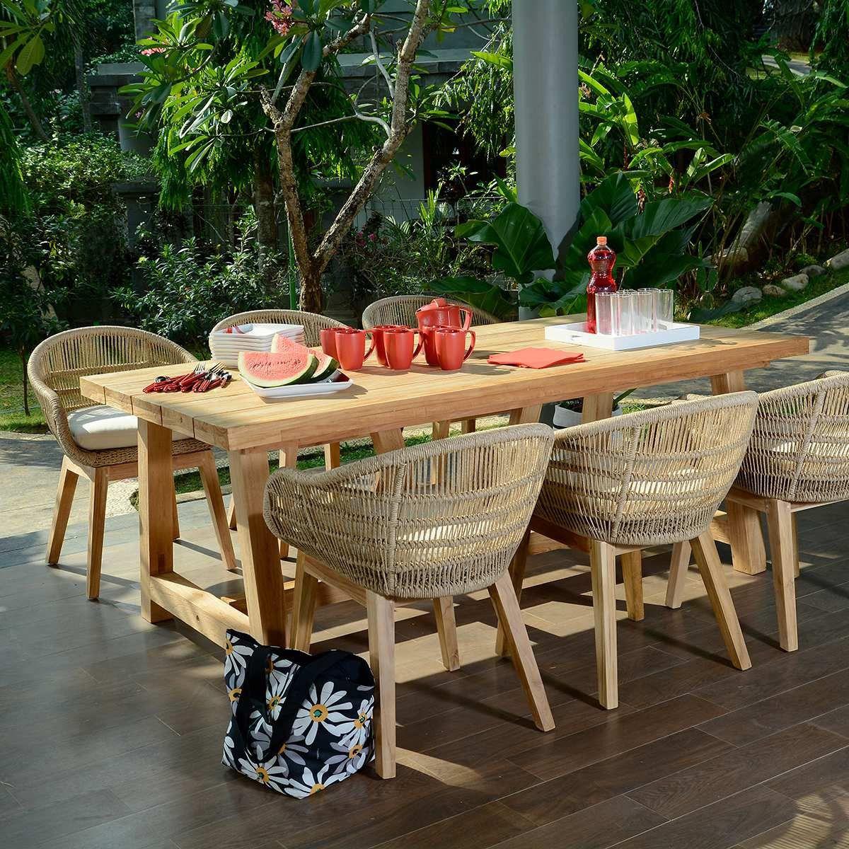 Salon De Jardin Chaumont 250 En Teck Effet Recyclé Pas Cher ... pour Salon De Jardin En Soldes