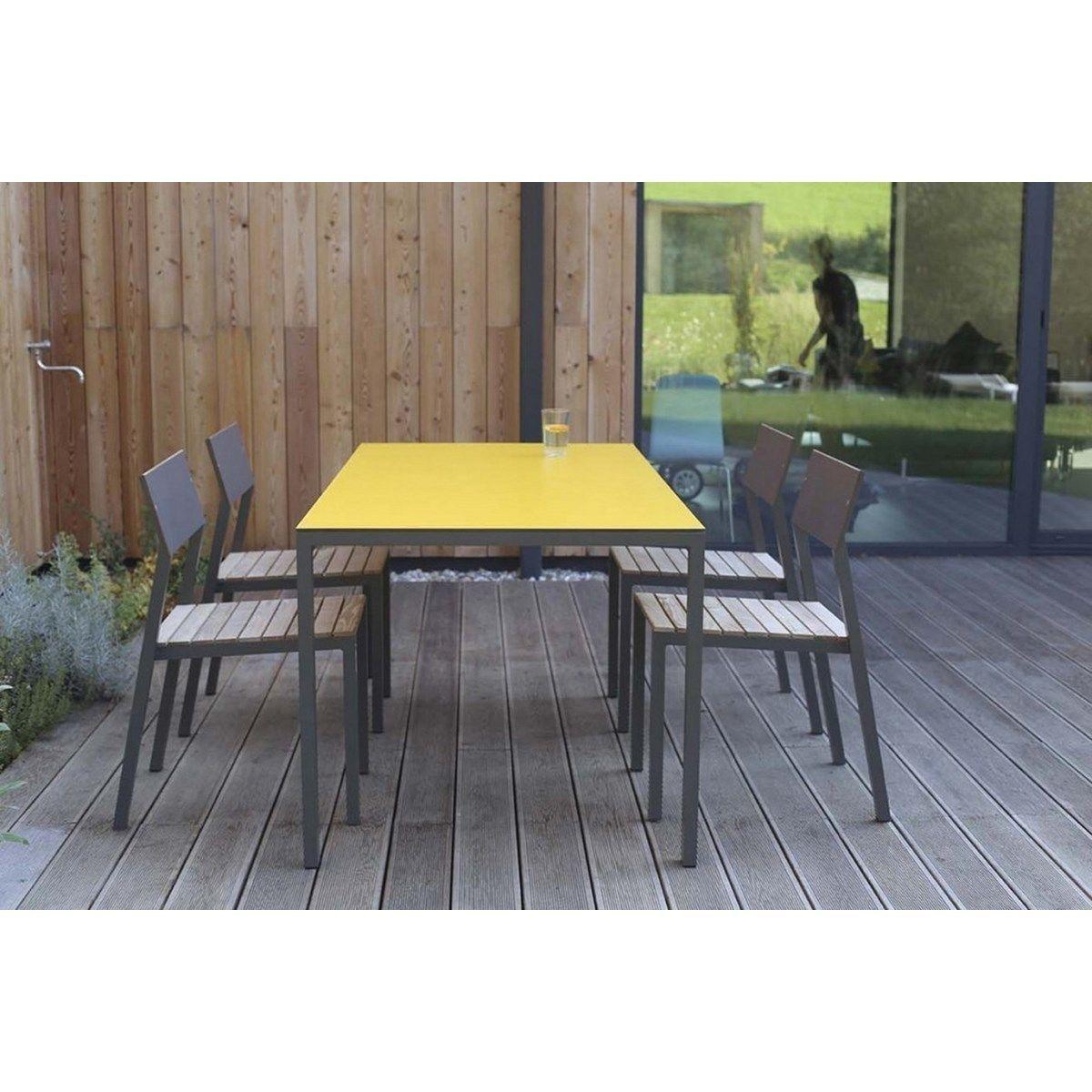 Salon De Jardin Cora Table Rectangle Plateau Hpl Jaune Et 4 ... concernant Salon De Jardin Cora