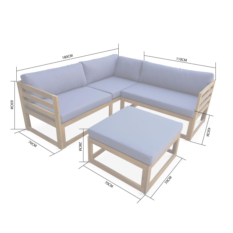 Salon De Jardin D'angle En Bois 5 Places – Rafaela ... dedans Canapé D Angle De Jardin