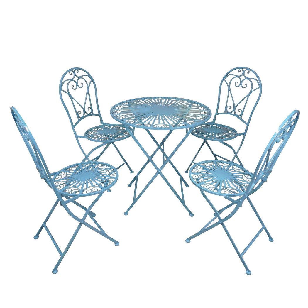 Salon De Jardin En Fer Forgé Bleu tout Salon De Jardin En Fer Forgé