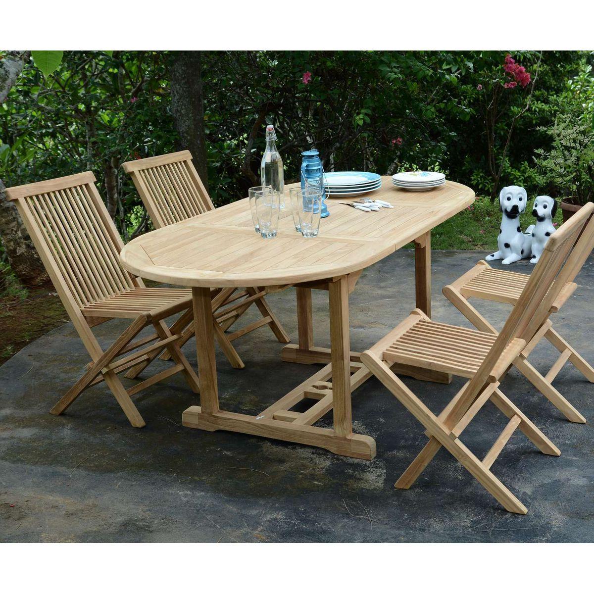 Salon De Jardin En Teck Ecograde Hawai, Table Extensible ... encequiconcerne Salon De Jardin Hawai