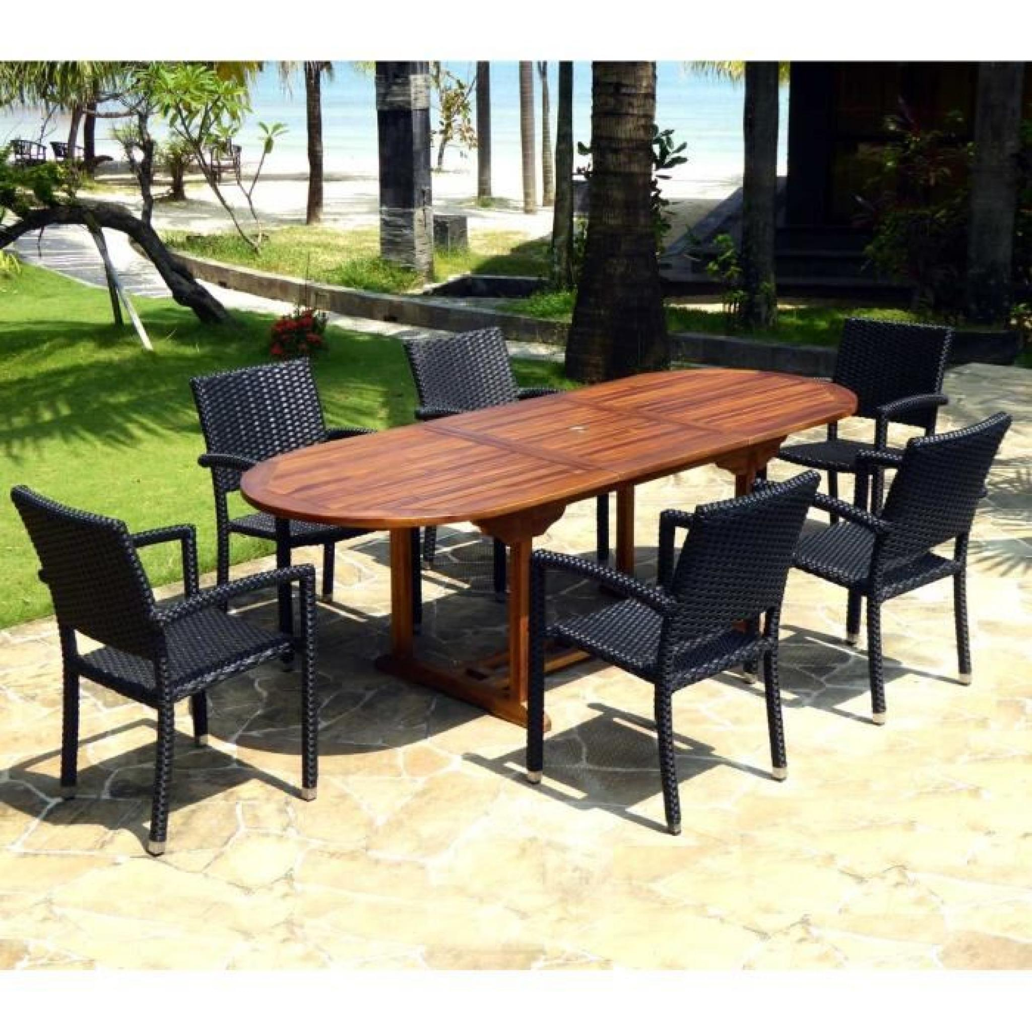 Salon De Jardin En Teck Huilé Table 240 Cm 6 Fauteuils Résine Noire destiné Salon De Jardin En Teck Pas Cher