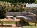 Salon De Jardin En Teck Summer (1 Canapé D'angle 5 Places, 1 Table Basse) dedans Canapé D Angle De Jardin