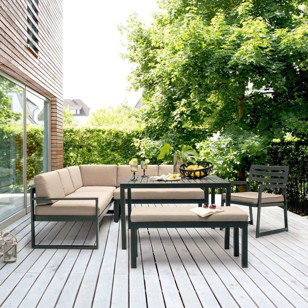 Salon De Jardin Kettler Océan : Canapé D'angle + Table + Banc concernant Canapé D Angle De Jardin