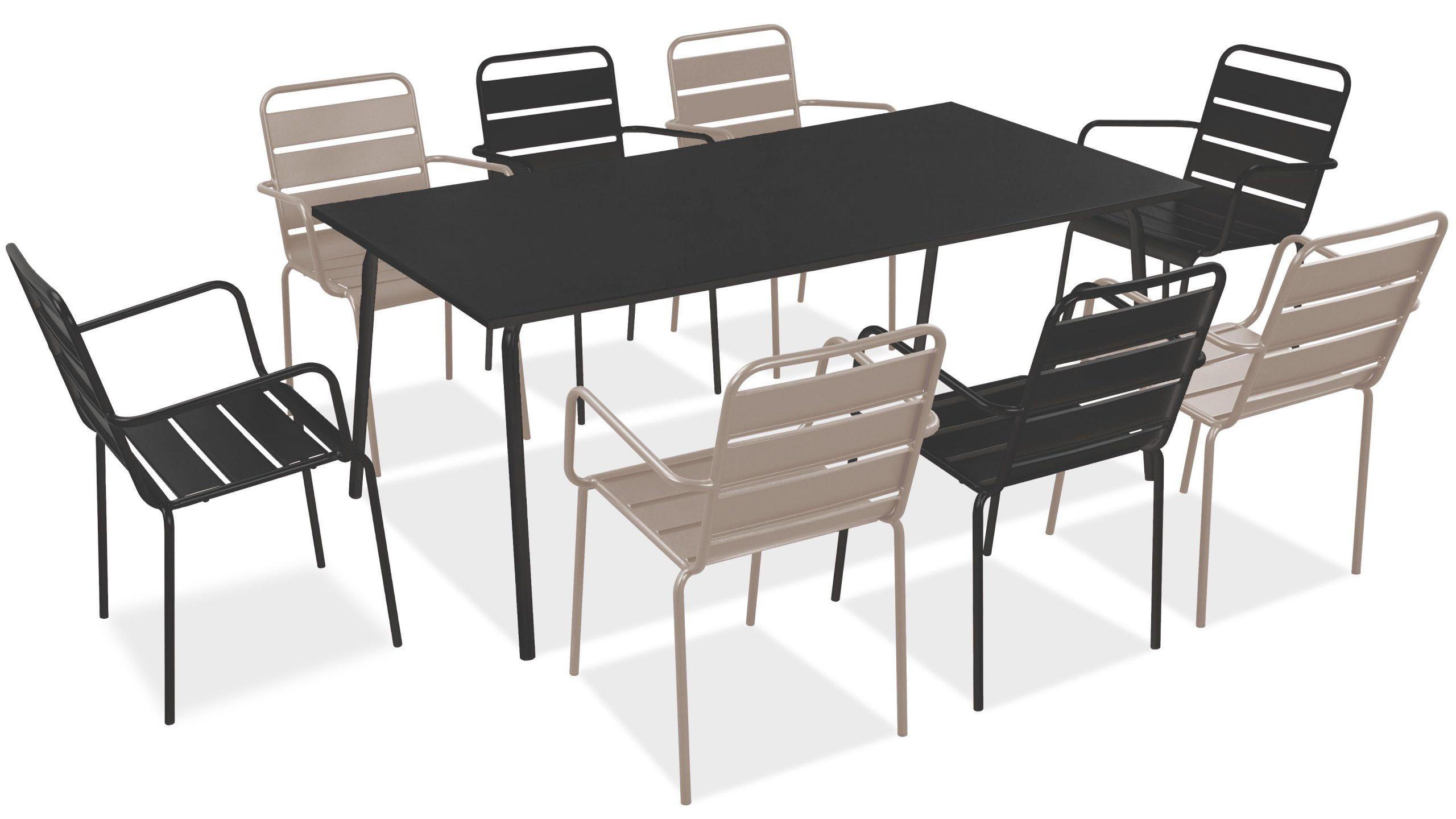 Salon De Jardin Metal Table Et Fauteuils dedans Salon De Jardin Table Haute