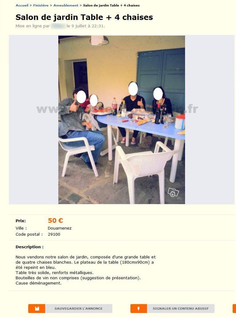 Salon De Jardin Table + 4 Chaises / Ameublement / Bretagne ... encequiconcerne Le Bon Coin Salon De Jardin