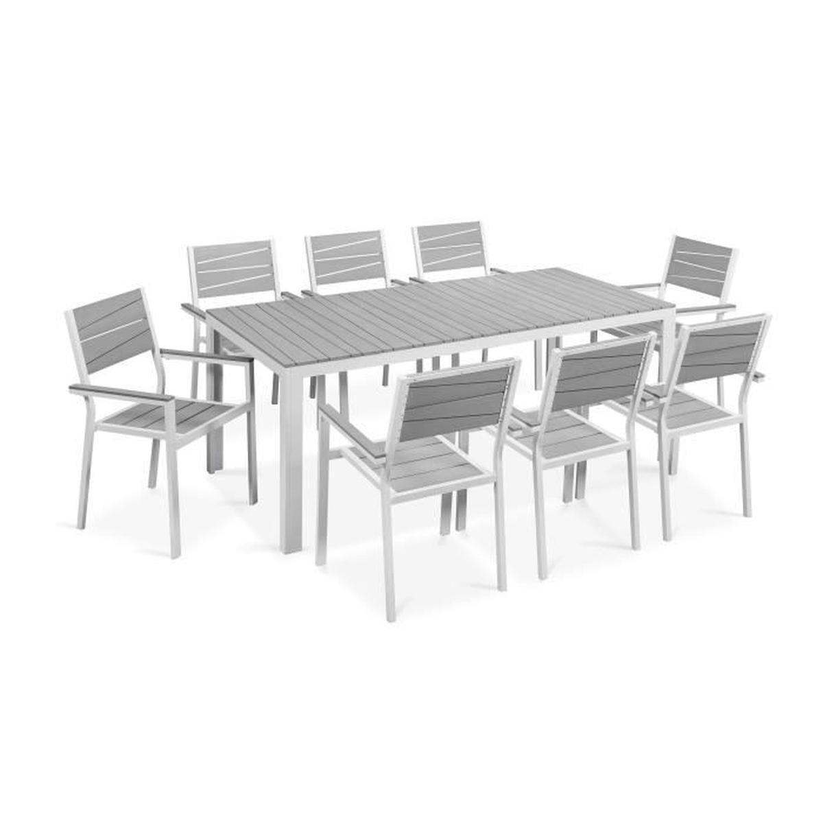 Salon De Jardin Table Et Chaises Accoudoir Aluminium encequiconcerne Salons De Jardin Pas Cher