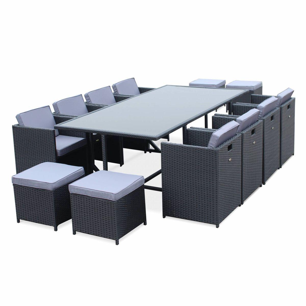 Salon De Jardin Vasto Noir Table En Résine Tressée 8 À 12 ... intérieur Auchan Table De Jardin