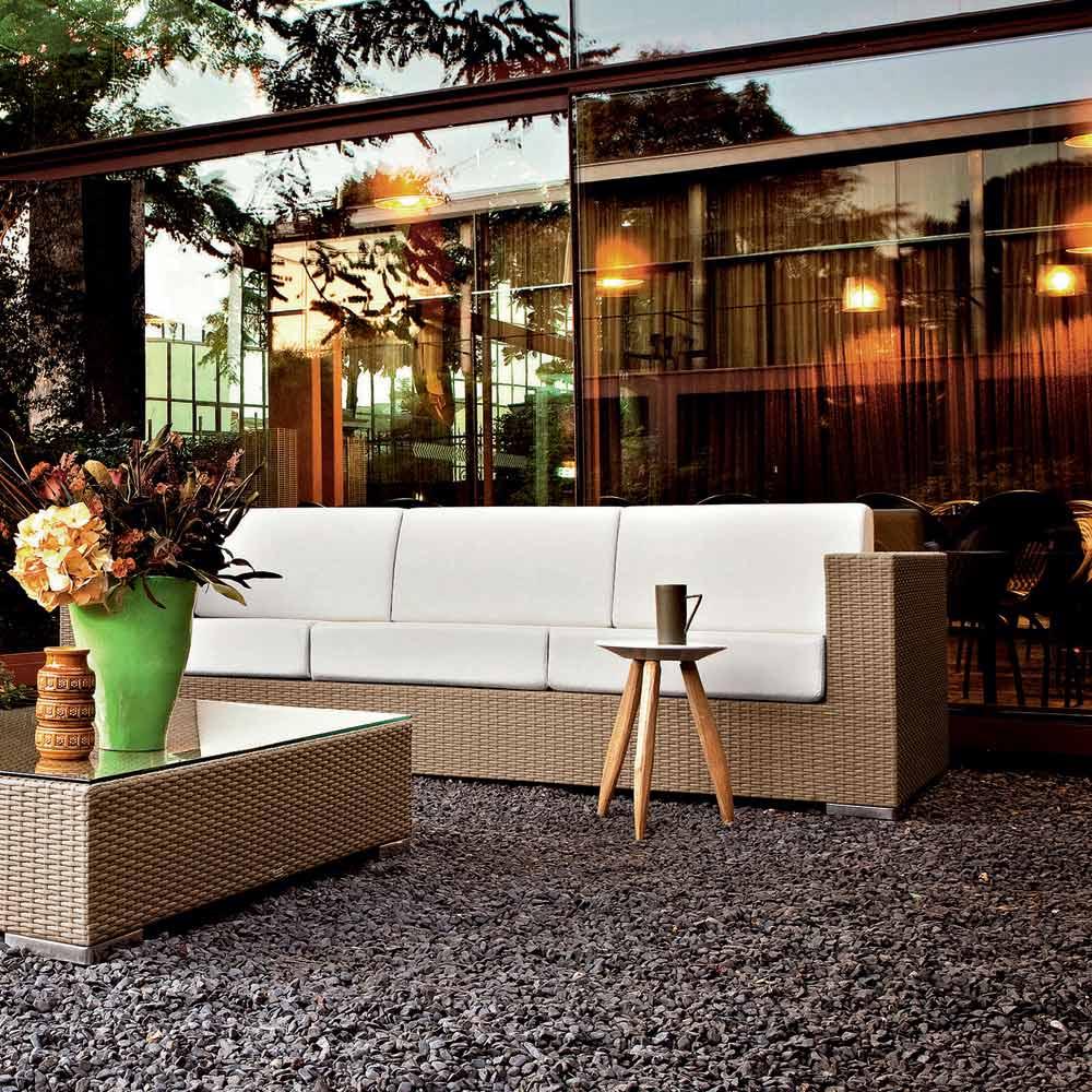Salon D'extérieur Moderne Varaschin Cora, Aluminium + Fibre Tressée avec Salon De Jardin Cora