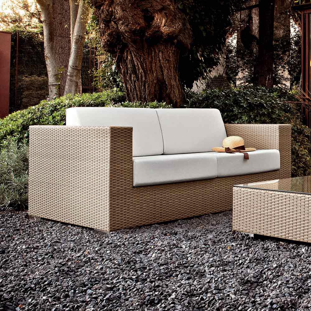 Salon D'extérieur Moderne Varaschin Cora, Aluminium + Fibre Tressée pour Salon De Jardin Cora