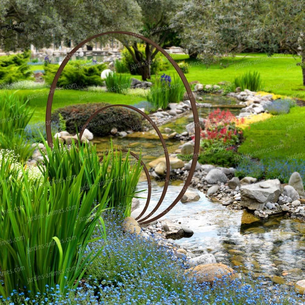Sculpture De Jardin Ronde - Anneaux De Fer Concentriques tout Decoration De Jardin A Faire Soi Meme