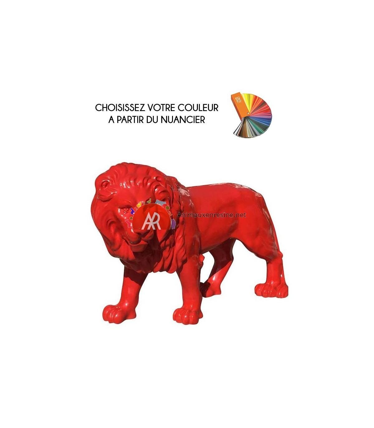 Sculpture De Lion Grand Modèle En Résine Monochrome | Animauxenresine serapportantà Nain De Jardin Fuck