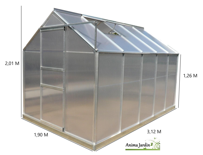 Serre De Jardin En Aluminium Et Polycarbonate, 5.92 M² ... pour Serre De Jardin Pas Chere