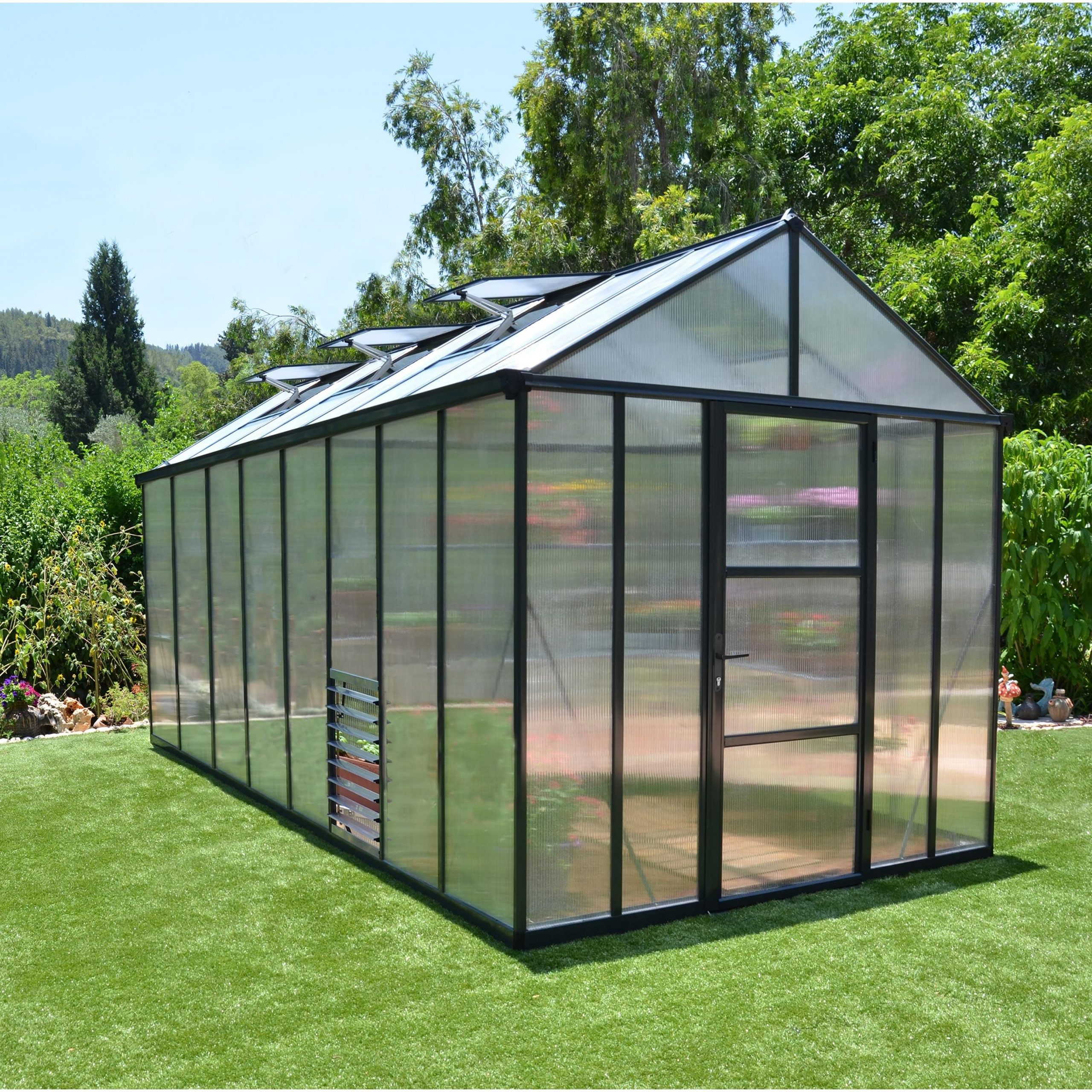 Serre De Jardin Glory 11.4 M², Aluminium Et Polycarbonate ... destiné Serre De Jardin Leroy Merlin