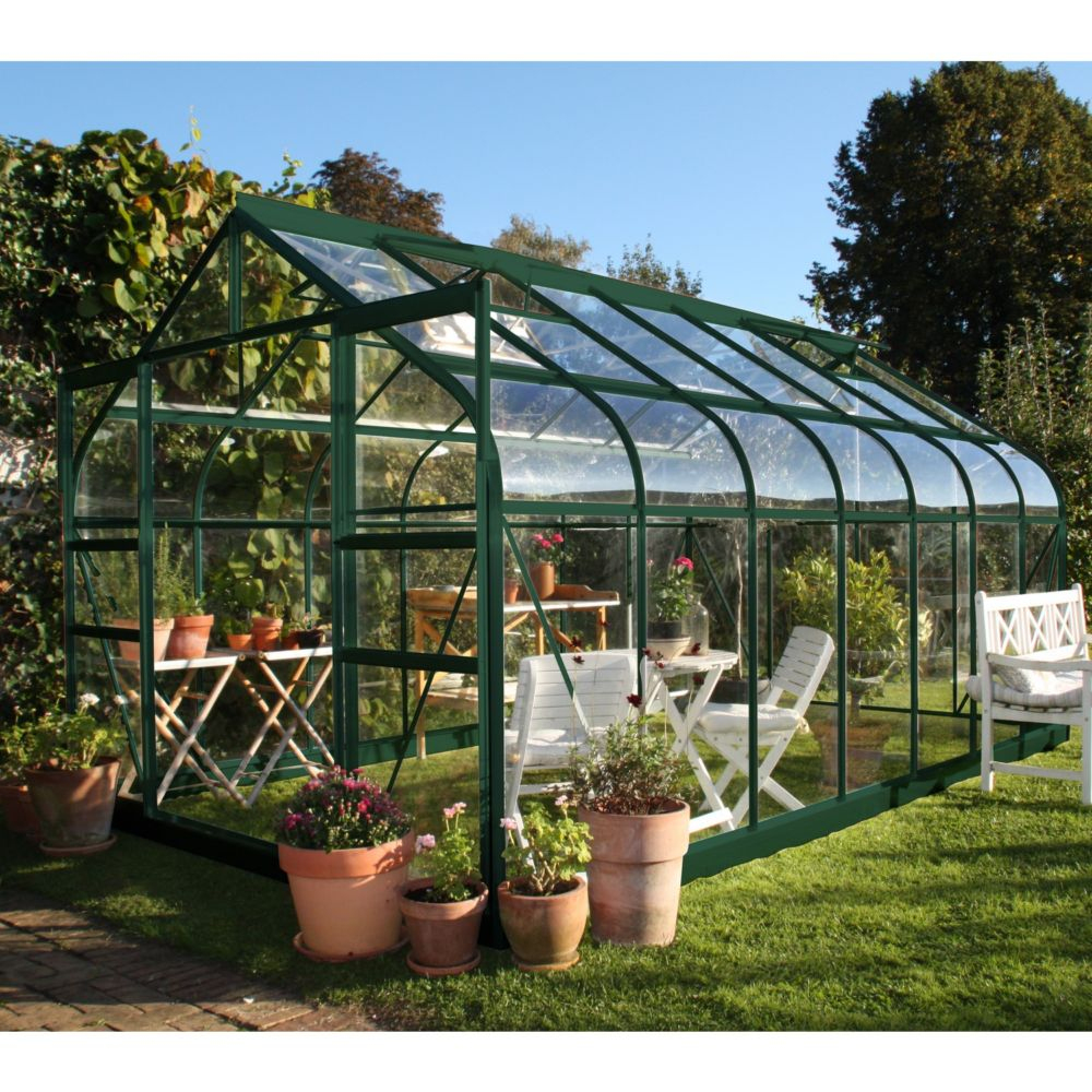 Serre En Verre Trempé Supreme Vert 11.4 M² + Embase - Halls à Serre De Jardin Pas Chere