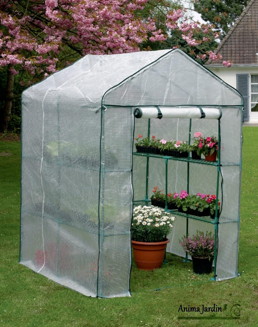 Serre Jardin 2 M², Greenseason 4 Nortène, Avec Étagères, Serre Pas Cher encequiconcerne Serre De Jardin Pas Chere