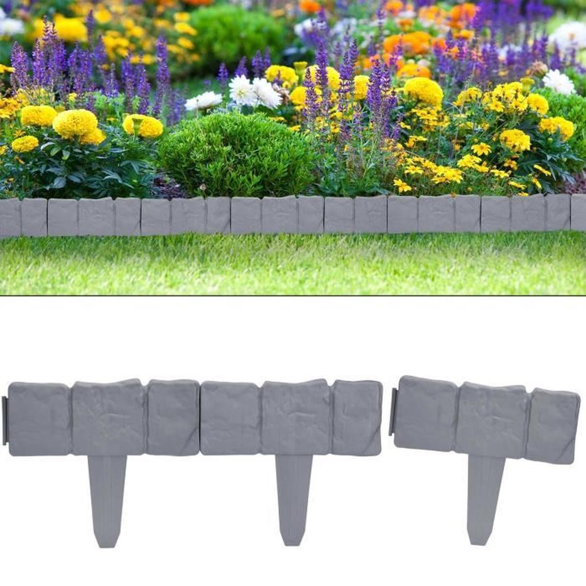 Set Bordure De Jardin, Rebord De Jardin - Aspect Granit 2X ... avec Bordure Jardin Pas Cher