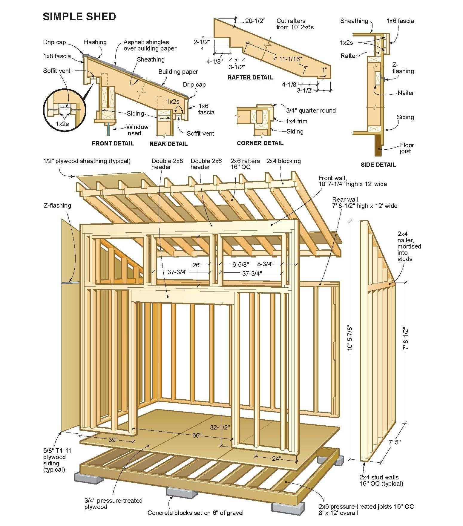 Simple Shed Plans | Plan Cabane En Bois, Abri De Stockage Et ... avec Plan Cabane De Jardin