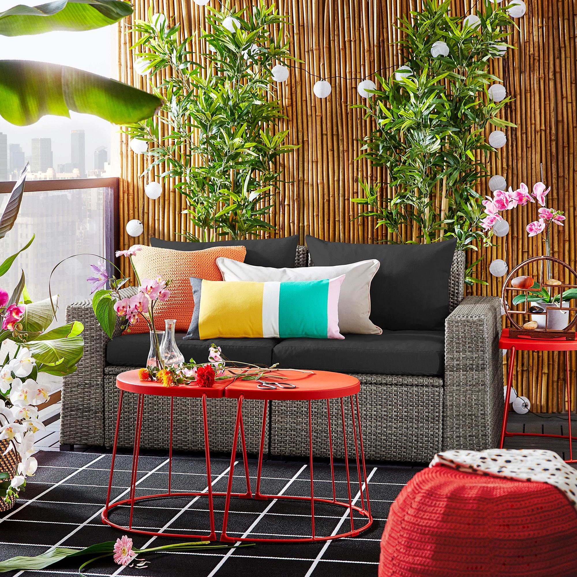 Sollerön 2-Seat Modular Sofa, Outdoor - Dark Gray, Hållö ... intérieur Ikea Mobilier De Jardin