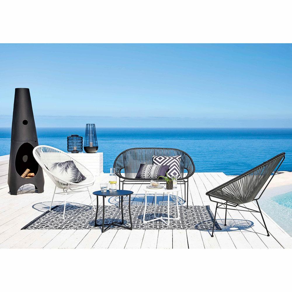 Stackable 2/3-Seater Garden Bench In Resin String And Black Metal encequiconcerne Salon De Jardin Maison Du Monde