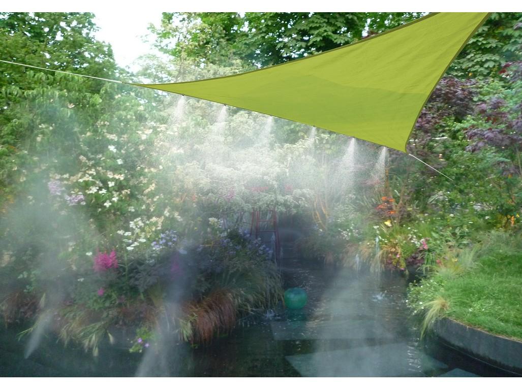 Stínící Plachta S Vodními Tryskami (Trojúhelník) Limetka à Brumisateur Jardin