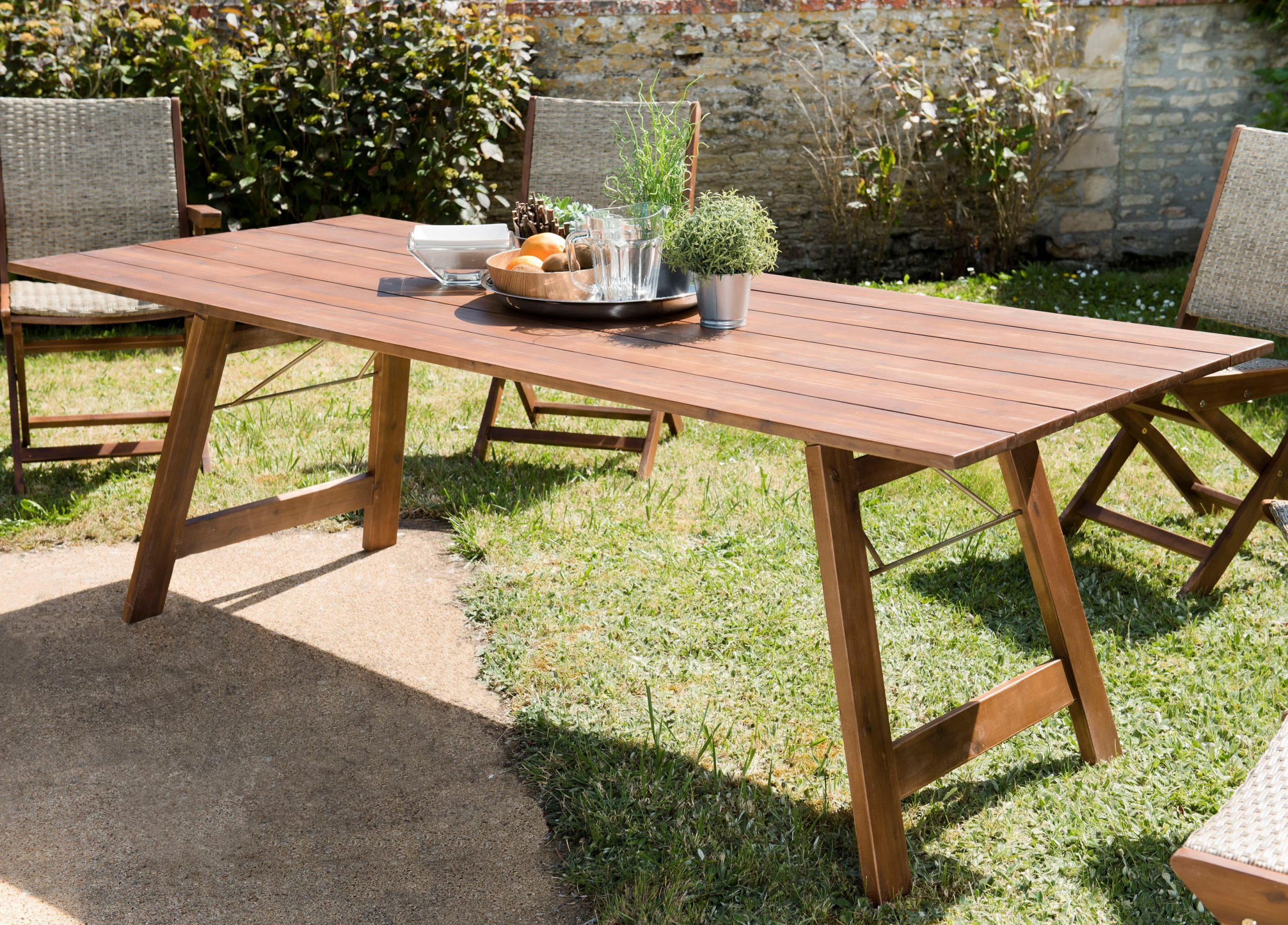 Table De Jardin 10 Personnes Acacia 220X90 Summer destiné Table Jardin 10 Personnes