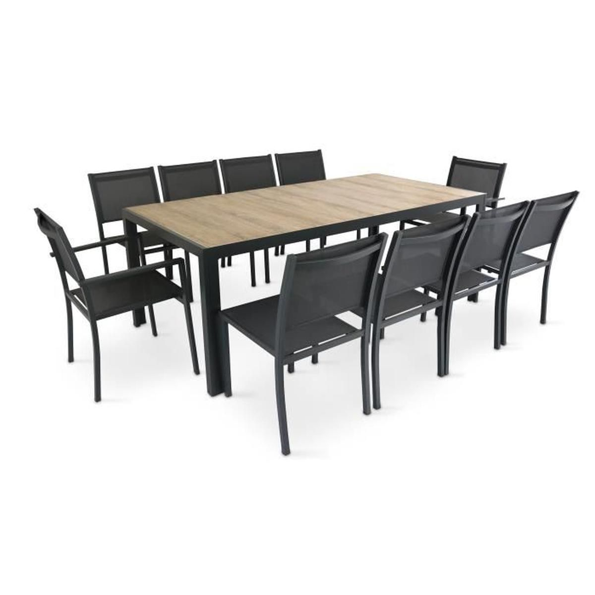 Table De Jardin 10 Places Aluminium Et Céramique - Ensemble ... intérieur Table Jardin 10 Personnes