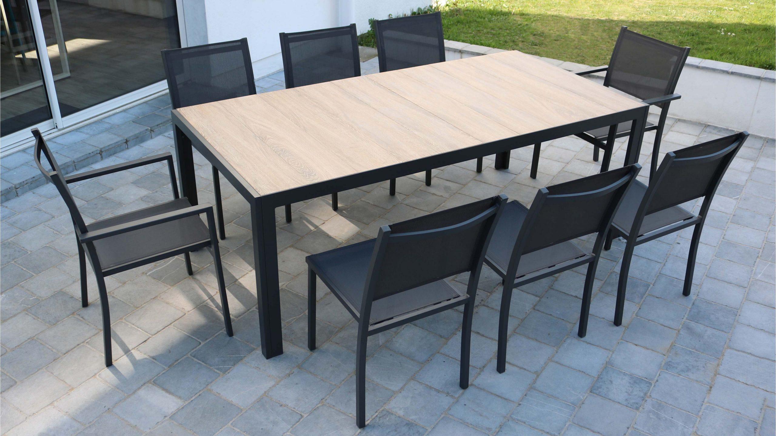 Table De Jardin 10 Places Aluminium Et Céramique | Oviala destiné Table Jardin 10 Personnes