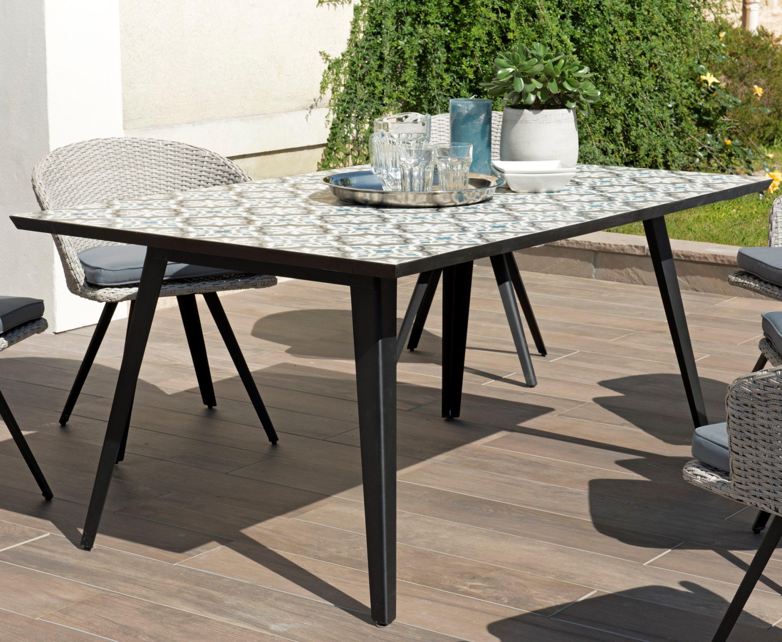 Table De Jardin 6 Personnes Carreaux De Ciment 162X102 Summer destiné Table Jardin 6 Personnes