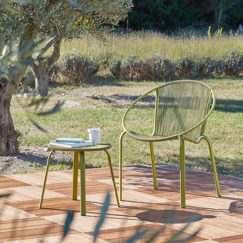 Table De Jardin Basse Naterial Veracruz Ronde Vert 2 ... encequiconcerne Salon De Jardin 2 Personnes
