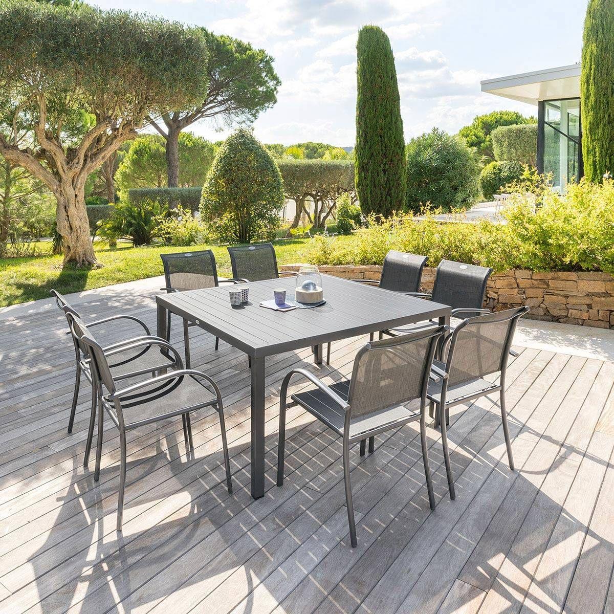 Table De Jardin Carrã©E Piazza Graphite - Hesperide   Table ... dedans Centrakor Salon De Jardin
