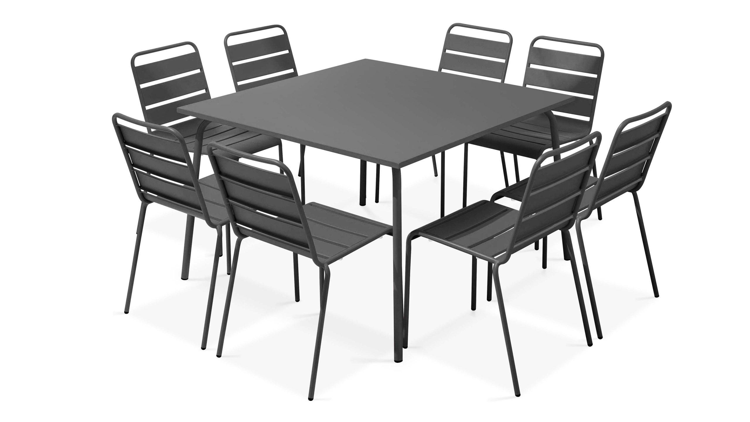 Table De Jardin Carrée En Métal, 8 Chaises | Palavas à Table De Jardin Carrée 8 Personnes