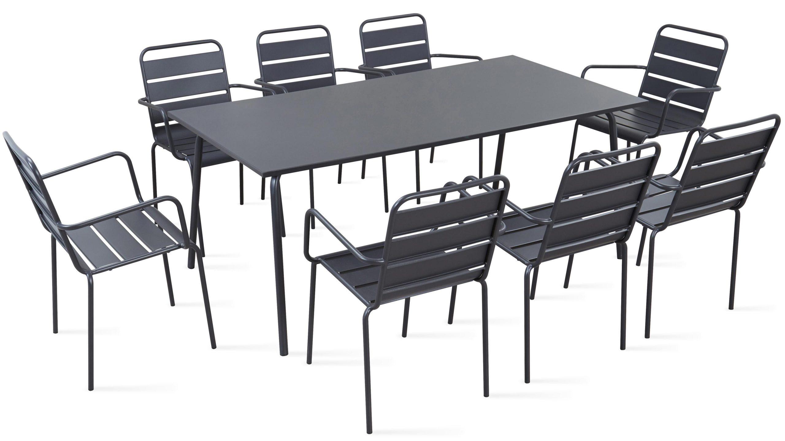 Table De Jardin En Métal Et 8 Fauteuils destiné Table Et Chaises De Jardin Pas Cher