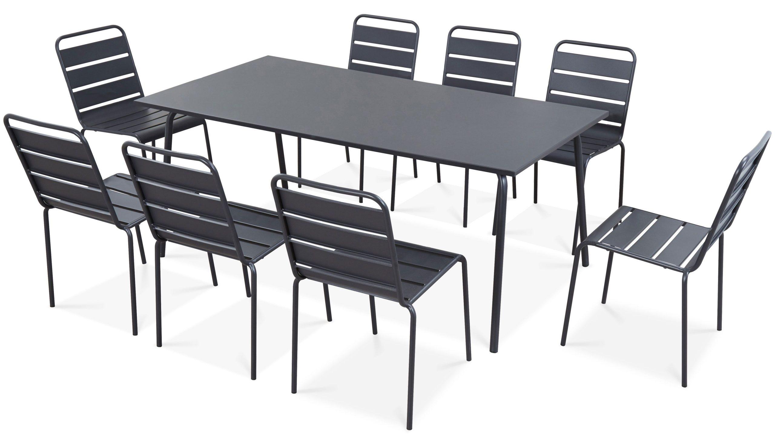 Table De Jardin Et 8 Chaises En Métal | Palavas dedans Table Et Chaises De Jardin Pas Cher