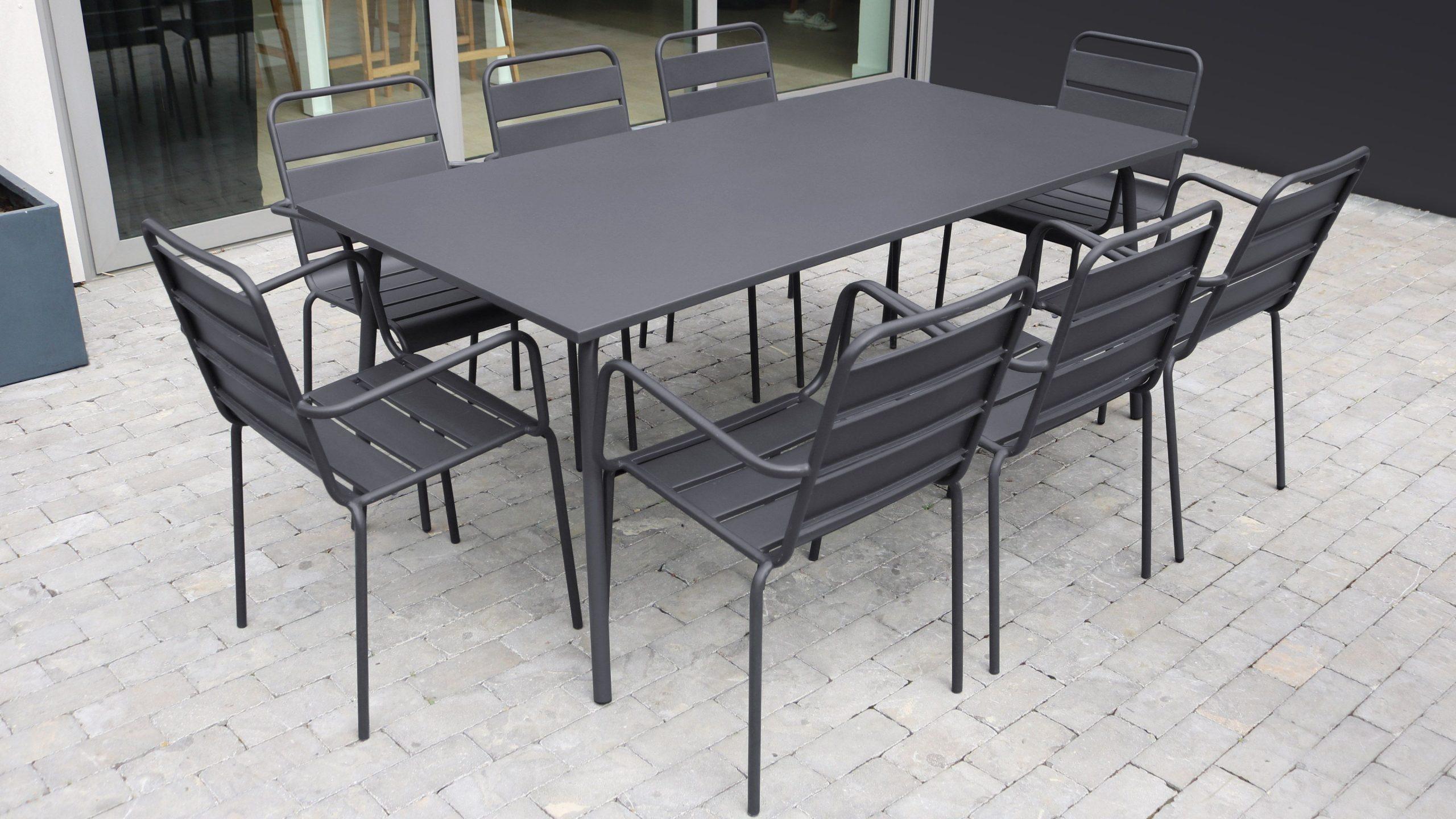 Table De Jardin Et 8 Fauteuils En Métal - Gris En 2020 ... intérieur Table De Jardin Carrée 8 Personnes